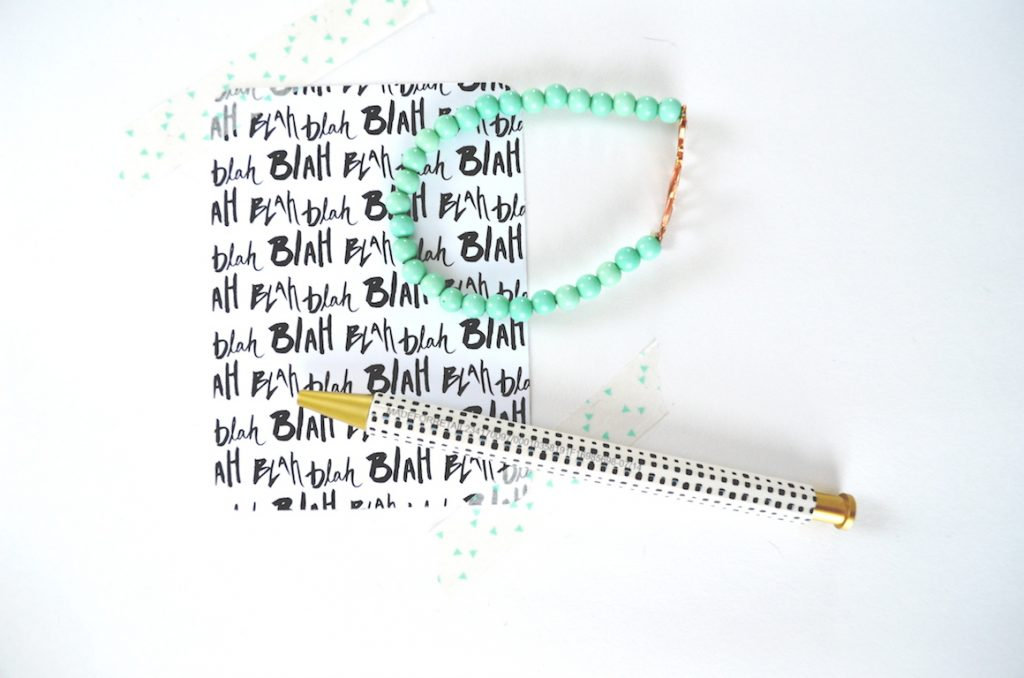 blah-blah-blah-card-washi-pen-teal-bracelet-love
